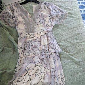 Lavender flora dress with lace